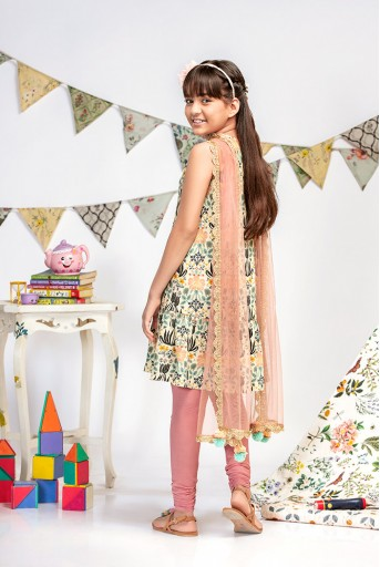 PS-KG0007 Cream Printed Crepe Kurta with Rose Pink Soft Net Churidar and Net Dupatta