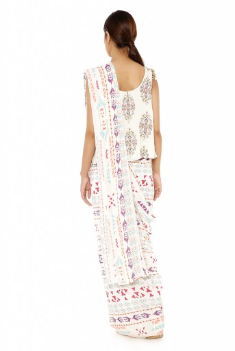 PS-FW617-D  Cream Printed Georgette Top with Cream Printed Georgette Saree