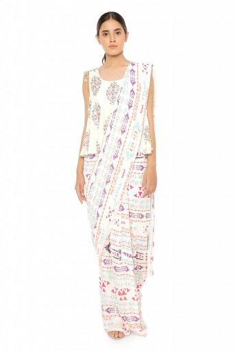PS-FW617-D-1  Cream Printed Georgette Top with Cream Printed Georgette Saree