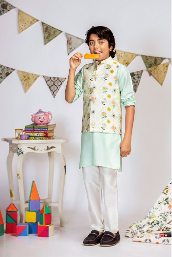 PS-KB0013 Cream Printed Silkmul Bandi with Aqua Cotton Silk Kurta and Off white Cotton Silk Churidar