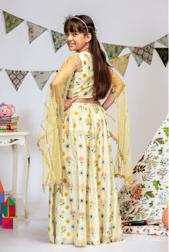 PS-KG0011 Cream Printed Silkmul Choli and Lehenga with Pale Yellow net Dupatta