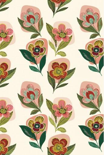 PYS-300931  Cream Retro Flower Print Full Width Scarf