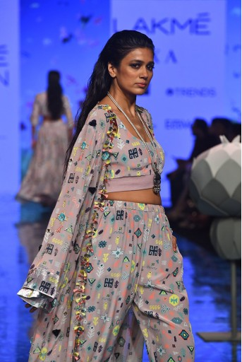 PS-FW712 Daliah Lavender Lime Printed Georgette Embroidered Jacket and Crepe Bustier with Jogger Pant