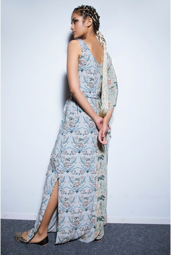 PS-FW546 Dana Powder Blue and Mint Printed Crepe Kaftaan