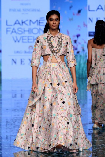 PS-FW711 Davina Lavender Orange Printed Dupion Silk Shirt and Lehenga
