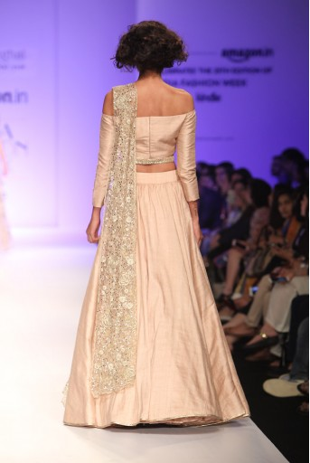 PS-FW339 Demi Blush Dupion Silk Off Shoulder Choli with Skirt and Tulle Dupatta with Belt