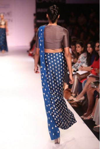 PS-FW277 Devi Gunmetal Grey Silkmul Choli with Teal Silkmul Fitted Churidar Skirt and Soft Net Dupatta