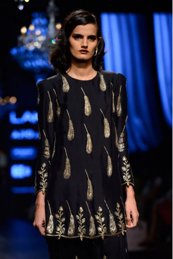 PS-FW426 Dina Black Silk Kurta with Salwar