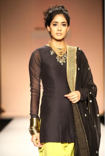 PS-FW179 Diva Black Silkmul Kurta with Lime Green Cotton Silk Jodhpur Pant and Black Dupatta