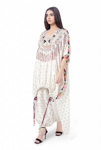 PS-FW750  Duha Chalk White Colour Floral Brocade Yoke Embroidered Kaftaan with Drawstring Details and Jogger Pant