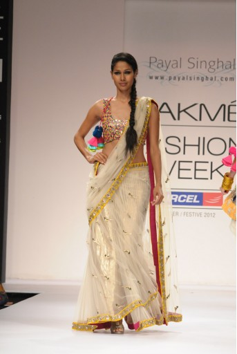 PS-FW155 Ecru Tulle Kali Saree with Multicolour Choli