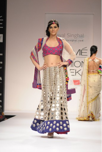 PS-FW156 Ecru Tulle Mirrorwork Lehenga with Brocade Choli and Dupatta