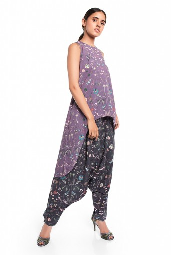PS-FW420-QQQ  Eggplant Colour Printed Art Crepe High-Low Kurta with Black Colour Printed Art Crepe Low Crotch Pant