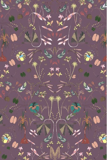 PS-SC0042  Eggplant Forest Print Full Width Scarf