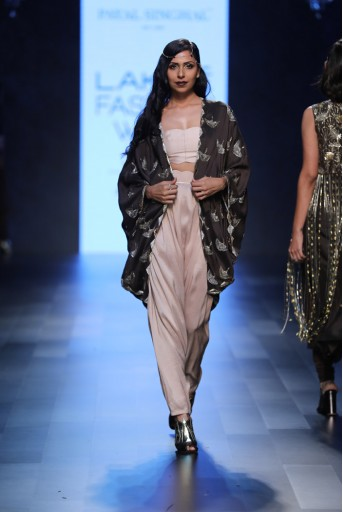 PS-FW454 Ehsan Gunmetal Silk Cape with Blush Silk Bustier and low Crotch Pant