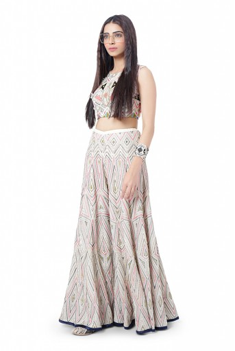 PS-FW751  Eisa Chalk White Colour Georgette Embroidered Choli with Sharara