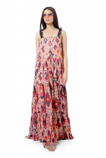 PS-FW734  Eman Red Colour Printed Art Georgette Long Tiered Dress