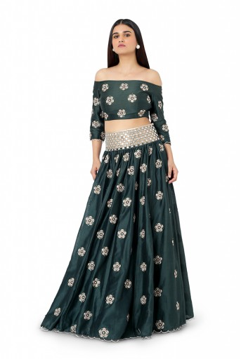 PS-ST1300-B-1  Emerald Green Colour Silkmul Choli and Lehenga