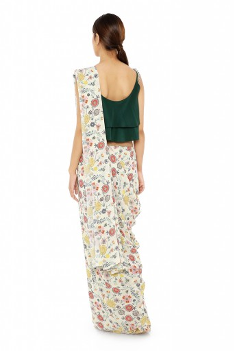 PS-ST1207-CC-1  Emerald Green Colour Crepe Two Layer Top with Cream Printed Georgette Saree