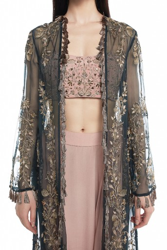 PS-FW550-A  Emerald Green Organza Duster Jacket with Rose Pink Crepe Bustier and Low Crotch Pant