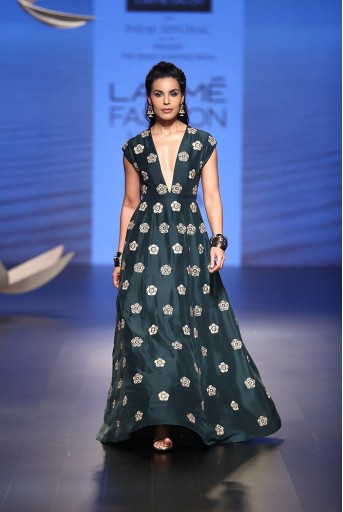 PS-FW516 Esma Emerald Green Silk Gown
