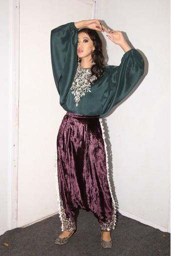 PS-FW594 Ezel Emerald green Silk Kaftaan Top with Purple Velvet Low Crotch Pant