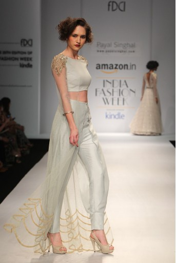 PS-FW333 Fae Powder Blue Mukaish Net Kurta with Silk Overlay Pant