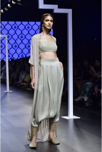 PS-FW476 Falak Grey Silk Bustier and Low Crotch Pant with Mukaish Georgette Cape