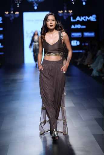 PS-FW455 Fara Gunmetal Silk and Organza Choli with Mukaish Georgette Low Crotch Pant