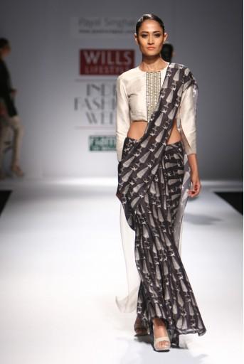 PS-FW294 Farah Stone Dupion Silk and organza Choli with Black Printed Lehenga Saree