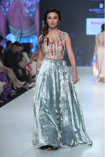 PS-FW676 Fareena Rose Pink Organza Choli  with Periwinkle Blue Velvet Lehenga