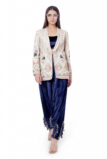 PS-FW753  Fariat Chalk White Colour Georgette Embroidered Jacket with Navy Colour Velvet Bustier and Low Crotch Pant