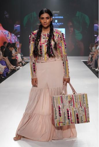 PS-FW677 Fariba Rose Pink Organza Crop Top with Crepe Bustier and Sharara Pant