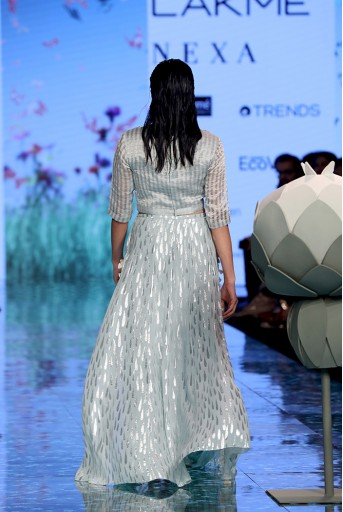 PS-FW702-1  Farideh Pale Blue Chanderi Stripe Embroidered Top with Tear Drop Georgette Sharara with Attached Skirt