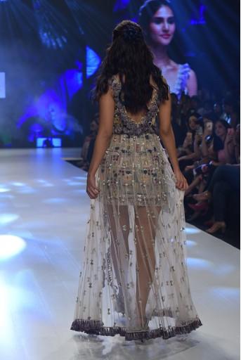 PS-FW687 Farnaz Stone Georgette Dress with Net Detachable Skirt