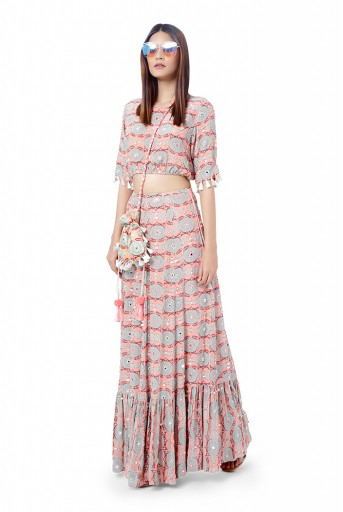 PS-FW732  Farzin Coral Colour Printed and Embroidered Crepe Balloon Top with Frill Skirt