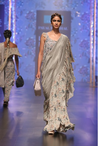 PS-FW548 Feruza Powder Blue Printed Crepe Top with Mint Printed Georgette and Chanderi Stripe Frill Saree