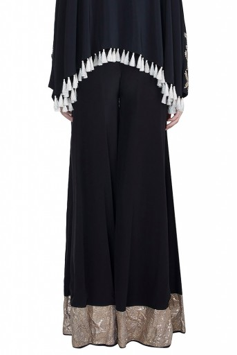 PS-FW588 Feza Black Crepe Kaftaan Top with Sharara