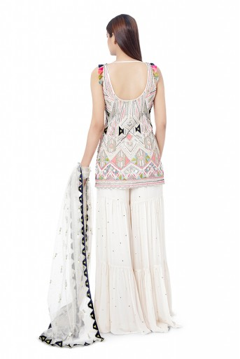 PS-FW754  Fizza Chalk White Colour Georgette Embroidered Kurta with Mukaish Georgette Sharara and Mukaish Net Dupatta