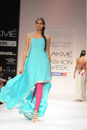 PS-FW152 Fresh Blue Asummetrical Kurta with Mirror work Jacket and Hot Pink churidar