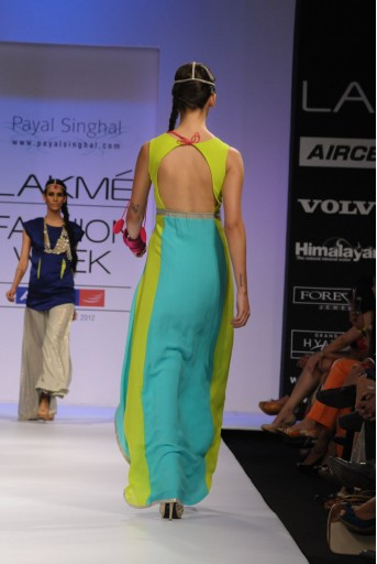 PS-FW147 Fresh Blue with Grey and Neon Crepe Kurta with Soft Net Leggings