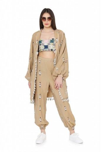 PS-FW801  Gold  Brocade Oversized Jacket and Jogger Pant with Green Colour Printed Cotton Rayon Bustier