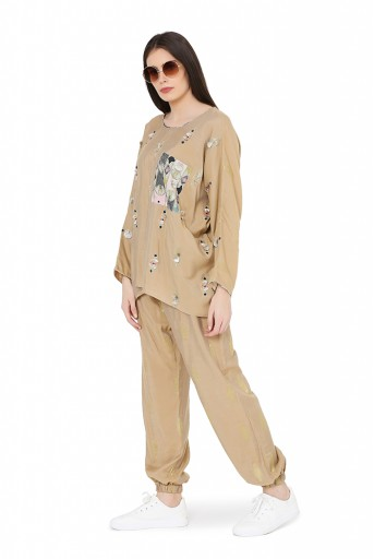 PS-FW806  Gold Brocade Oversized Top with Jogger Pant