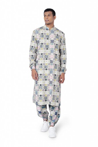 PS-FW800  Green Colour Printed Cotton Rayon Kurta with Jogger Pant