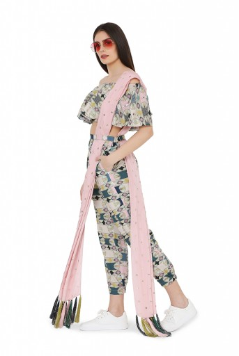 PS-FW799  Green Colour Printed Cotton Rayon Off Shoulder Top with Jogger Pant and Rose Pink Colour Mukaish Abu Thai Dupatta