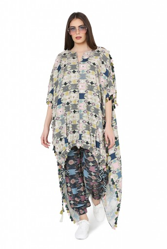 PS-FW803  Green Colour Printed Cotton Rayon Oversized High-Low Kaftaan Top with Navy Colour Printed Cotton Rayon Jogger Pant