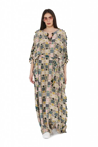 PS-FW805  Green Colour Printed Cotton Rayon Oversized Kaftaan