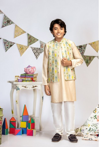 PS-KB0011 Green Printed Silkmul Bandi with Stone Cotton Silk Kurta and Off white Cotton Silk Churidar