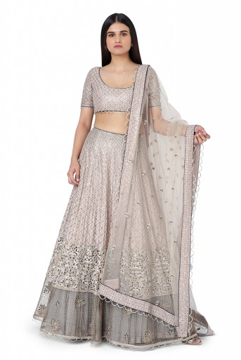 PS-ST1137-1  Grey Coloue Silk Choli with Lehenga and Net Dupatta