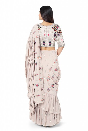 PS-FW623-A  Grey Colour Crepe Choli with Georgette Frill Saree and Chantone Petticoat